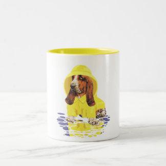 Basset Hound April Showers Two-Tone Coffee Mug