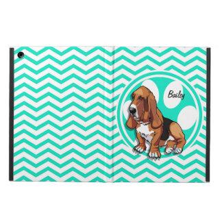 Basset Hound; Aqua Green Chevron Case For iPad Air