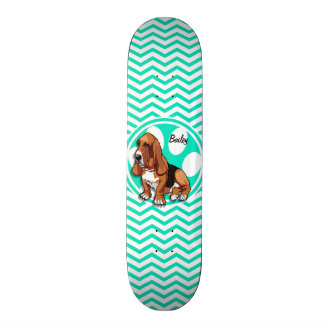 Basset Hound; Aqua Green Chevron Skateboards