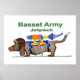 Basset Hound Army Jetpack, Pop Art by Jon David Poster