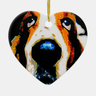 Basset Hound art Ceramic Ornament