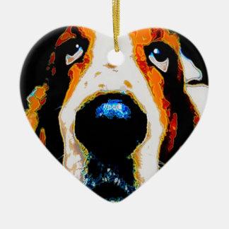 Basset Hound art Double-Sided Heart Ceramic Christmas Ornament
