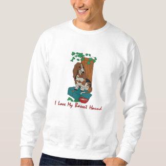 Basset Hound Art Embroidered on Apparel Embroidered Sweatshirt