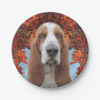 Basset Hound Autumn Leaves Paper Plate