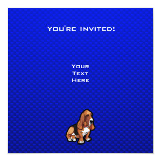 """Basset Hound azul Invitación 5.25"""" X 5.25"""""""