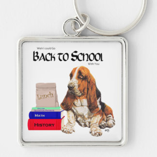 Basset Hound Back to School Silver-Colored Square Keychain