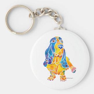 Basset Hound Basic Round Button Keychain