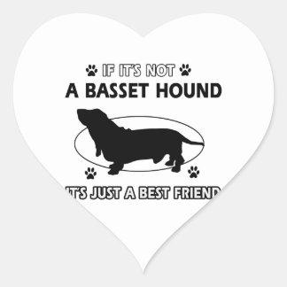BASSET HOUND best friend designs Heart Sticker