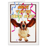 basset hound birthday card - you're how old?