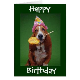 Basset Hound Birthday Lollipop Card