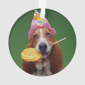 Basset Hound Birthday Lollipop Ornament