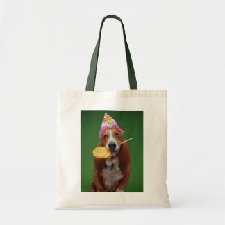 Basset Hound Birthday Lollipop Tote Bag