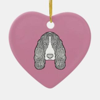 Basset Hound - Black and White Dog Illustration Ceramic Ornament