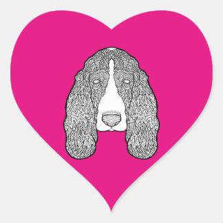 Basset Hound - Black and White Dog Illustration Heart Sticker