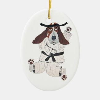 Basset Hound Black Belt Expert Double-Sided Oval Ceramic Christmas Ornament
