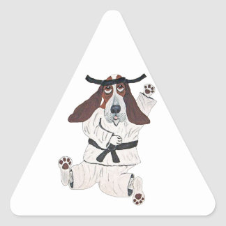 Basset Hound Black Belt Expert Triangle Sticker