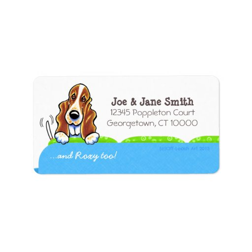 Basset Hound Blue Couch Pet Name Personalized Address Label