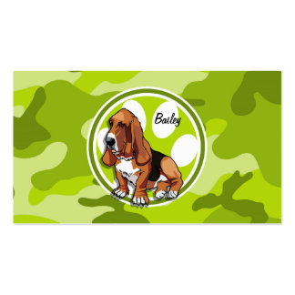 Basset Hound; bright green camo, camouflage Business Card Template
