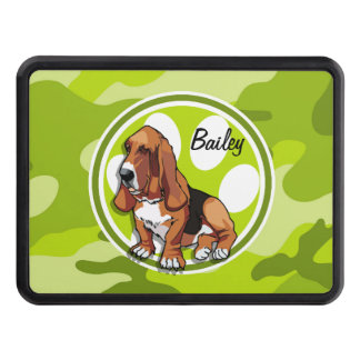 Basset Hound; bright green camo, camouflage Tow Hitch Cover