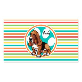 Basset Hound; Bright Rainbow Stripes Business Card