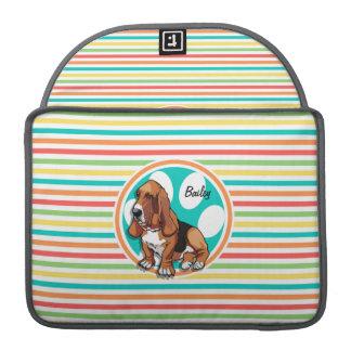 Basset Hound; Bright Rainbow Stripes Sleeve For MacBooks