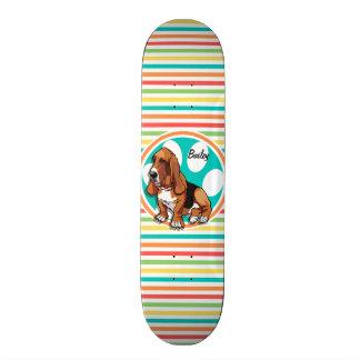 Basset Hound; Bright Rainbow Stripes Skateboard Deck