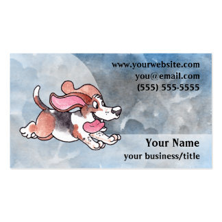 Basset Hound Business Card - Blue and Gray