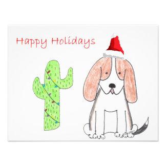 Basset Hound Cactus Christmas Personalized Invitations
