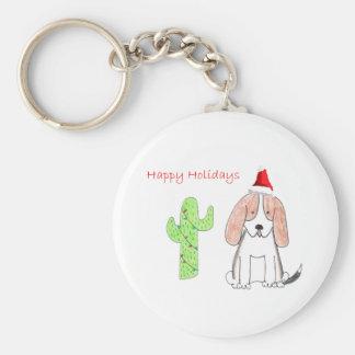 Basset Hound Cactus Christmas Keychain