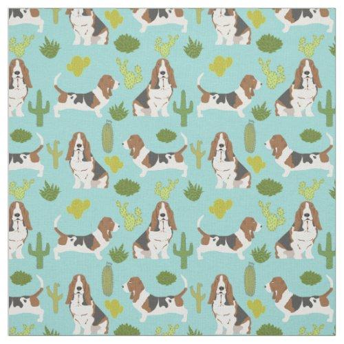 Basset hound cactus fabric _ dog fabric for quilt