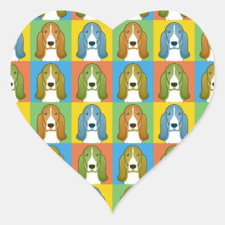 Basset Hound Cartoon Pop-Art Heart Sticker