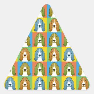 Basset Hound Cartoon Pop-Art Triangle Sticker