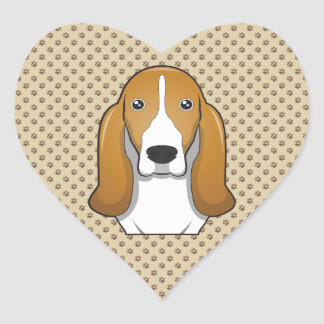 Basset Hound Cartoon Portrait Heart Sticker