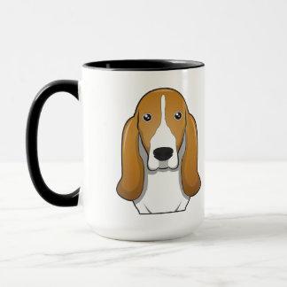 Basset Hound Cartoon Portrait Mug
