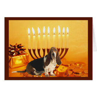Basset Hound Chanukah Card Menorah
