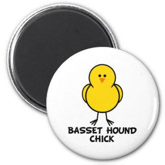 Basset Hound Chick 2 Inch Round Magnet