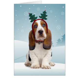 Basset Hound Christmas Card