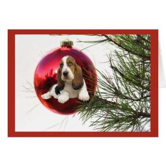 Basset Hound Christmas Card Ball Hanging