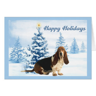 Basset Hound Christmas Card Blue Tree