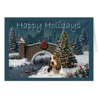 Basset Hound Christmas Card Evening