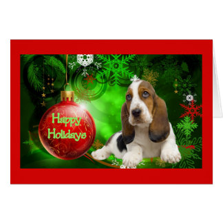 Basset Hound Christmas Card Happy Holidays Ball