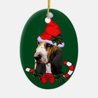 Basset Hound Christmas Ceramic Ornament