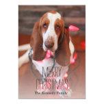 basset hound, christmas, christmas lights card