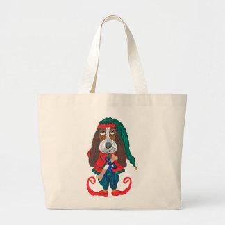 Basset Hound Christmas Elf Tote Bags