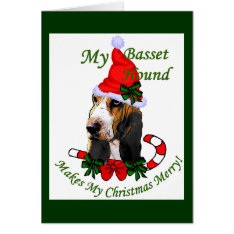 Basset Hound Christmas Gifts Card at Zazzle