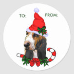 Basset Hound Christmas Gifts, TO:, FROM: Round Sticker