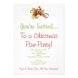 Basset Hound Christmas Invitation