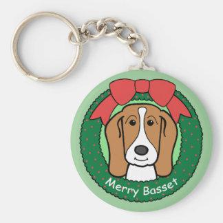 Basset Hound Christmas Keychain