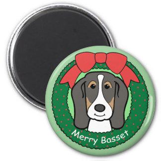 Basset Hound Christmas Magnet