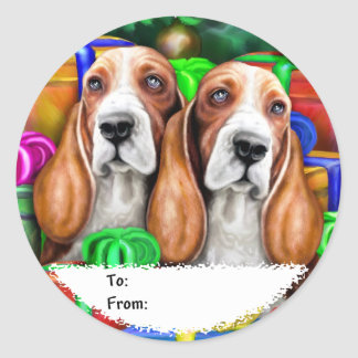 Basset Hound Christmas Open Gifts Gift Tags